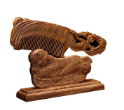 ICEGREY Handmade Sandalwood Wooden Comb Anti-Hair Loss Rake Comb Carved Luna Goddness