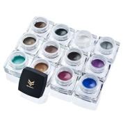 12 Colours Waterproof 2 in 1 Gel Eyeliner Set Beauty Cosmetics Make Up Long-lasting Shadow Gel Cream Eye Liners with Makeup Kit