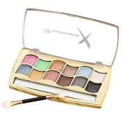 Happy Hours - Fashion 12 Colours Shimmer Eyeshadow with Cosmetic Brush / Women Eye Shadow Palette Makeup Set