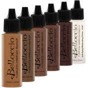 DARK Colour Shade Airbrush Makeup Foundation Set of Belloccio's Professional Cosmetic Airbrush Makeup in 30ml Bottles