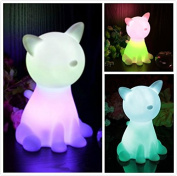 NIUDB Cute Cordless Cat-Shape Colour Changing LED Lamp Decoration Mood Night Light for Children