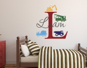 Custom Trucks Boy Name Wall Decal - Construction Wall Decals - Nursery Wall Decals - Trucks Decal - Vinyl Baby Nursery Decor