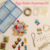 100 Piece Autism Awareness Jewellery Making Bead Variety Kit, Glass, Crystals, Tibetan/Sterling Silver,Findings, 4mm-24mm