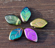 Lustre Iris Spring Mix Multocolor Glass Leaf Beads Czech Leaf Beads Leaf Bead Exclusive Carved Leaf Beads Leaf Beads Carved 12mm x 7mm 20pcs