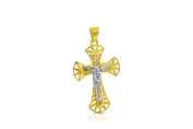 14K Yellow and White Gold Crucifix Cross Pendant