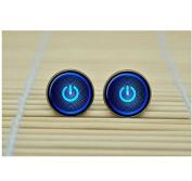 Button Power Earrings neon computer blue Earrings Jewellery glass Cabochon Earrings
