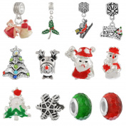 Souarts Mixed Christmas Father Tree Elk Snowflake Clover Rhinestone Charms Beads for European Bracelets Pack of 12pcs