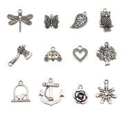Bingcute 100Pcs Wholesale Bulk Lots Tibetan Silver Plated Mixed Pendants Charms Jewellery