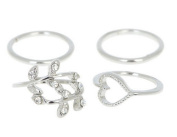 4-IN-1 Gold/Silver Plated Urban Leaf Row Chain Above Knuckle Band Top Finger Midi Finger Ring