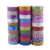 Washi Tape Set of 30 Rolls - All Girls Favourite, Great For Arts and Crafts, DIY, Scrapbook -Decorative, Creative, Re-positional, Multi-purpose, Masking tape.