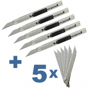 Ehdis Light Duty 9mm Snap Off 30 Degree Blades Slim Stainless Steel Sheath Lockable Box Cutters Graphic Knife with Blade Snapper Added 10 Blades, 5 Set