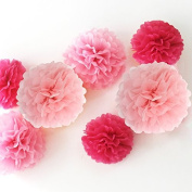 Zicome 12 Piece Tissue Paper Flower Pom Poms for Decorations,25cm , 30cm , 36cm ,