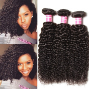 Longqi Beauty Peruvian Curly Weave Hair 3 Bundles, Peruvian Hair Curly Remy Hair 3pcs Set 100% Virgin Unprocessed Human Hair Extensions Natural Colour