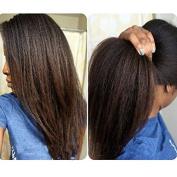 Natural Black Colour 100% Brazilian Virgin Hair Kinky Straight Full Lace Wig for Black Women