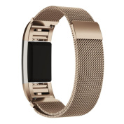 AutumnFall Milanese Stainless Steel Watch Band Strap Bracelet + HD Film for Fitbit Charge 2