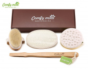 Body Brush & Cellulite Reduce Massager Set for Body Scrub & Dry Skin Brushing, Bath & Shower with 100% Natural Bamboo Boar Bristle Long Handle, Exfoliate Skin, Improve Circulation - Perfect As a Gift