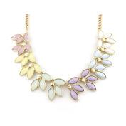 Gold Tone Short Chain Leaf Statement Necklace