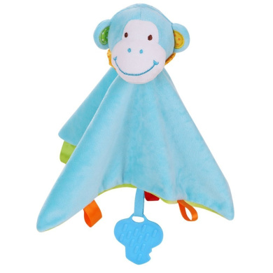 DREAM-HOME Plush Monkey Toy Soft Appease Towel Baby Snuggle Blanket (Blue)