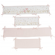 Lambs & Ivy Confetti Heart 4 Piece Crib Bumper, Pink/Gold