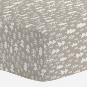 Carousel Designs Taupe Baby Woodland Trees Mini Crib Sheet 2.5cm -10cm Depth - Organic 100% Cotton Fitted Mini Crib Sheet - Made in the USA