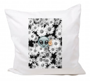 "Cushion Cover 40x40 ""Alien with Flowers and Peace Peace Symbol Retro"" Pillowcase- 40 x 40 cm- Pillow- Smiley- Christmas Gift"