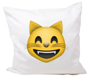 "Cushion Cover 40x40 ""Grinning cat face with smiling eyes"" Pillowcase- 40 x 40 cm- Pillow- Smiley- Christmas Gift"