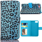 iPhone 7 Case,ARSUE Premium [Card Slot] PU Leather Wallet Cases Slim Folio Book Design with [Kickstand Feature] Magnetic Closure Flip Protective Cover Case for iPhone 7 - Blue Leopard