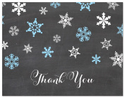 50 Chalkboard Snowflakes Thank You Cards