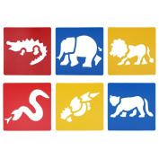 LGEGE Assorted Colours Plastic Jungle animal painting Stencils for Kids Crafts