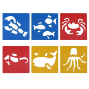 LGEGE Assorted Colours Plastic marine animal painting Stencils for Kids Crafts