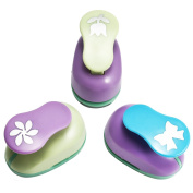 SiCoHome Scrapbooking Punches,Pack of 3,Rose/Bowknot/Flower,Easy to Use,Kid Cut DIY Handmade Paper Hole Punches