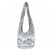 GaanZaLive36 Original All-match Printed Elephant Cotton Denim Sling Crossbody Thai Top Zip Handmade Bucket Travel Bag # White