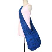 GaanZaLive36 Original All-match Printed Elephant Cotton Denim Sling Crossbody Thai Top Zip Handmade Bucket Travel Bag # Navy Blue
