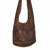 GaanZaLive36 Original All-match Printed Elephant Cotton Denim Sling Crossbody Thai Top Zip Handmade Bucket Travel Bag # Dark Brown