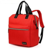 CL Nappy Bag Travel Backpack Shoulder Bag with Baby Changing Pad - Red