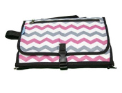 Baby Steps - The Best Portable Nappy Change Pad & Compact Nappies Bag -Travel Pronto Changing Station Mat – Chevron Pink - Perfect Baby Shower Gift or Present For Mom of Newborn Boys or Girls