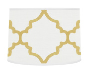 Lamp Shade for Modern White and Gold Trellis Bedding Collection