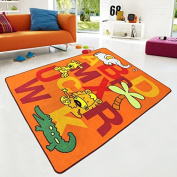Kids Rug ABC animals with Elephant Giraffe Lion crocodile for Playroom & Nursery Learning Carpets Play Carpet- Non Skid Gel Backing