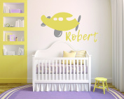 Personalised Name Aeroplane - Boy Girl Unisex Baby - Wall Decal Nursery For Home Bedroom Children