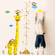 MLM Giraffe Height Measurement Chart Fruit Wall Decals for Growing Kids Boys and Girls Removable Height Wall Sticker for Babys Room
