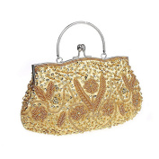 Women Beaded Sequin Satin Evening Clutch-Mily Kissing Lock Wedding Bag Purse Party Prom Bag