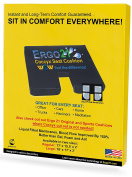 Ergo21 Liquicell Coccyx Seat Cushion -  .   Gel, Foam, and Air! Liquid-Filled Membranes. Blood Flow Improved by 150%