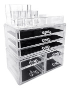 Sodynee Acrylic Makeup Cosmetic Organiser Storage Drawers Display Boxes Case, Three Pieces Set