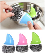 haoun 3pcs Stainless Sponges Scrubbers Steel Wire Brush for Pan Dish Pot Sharks