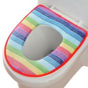 Hestio Colourful Rainbow Bathroom Soft Warmer Toilet Seat Cushion Mat Washable