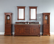 James Martin 147-114-5781-DSC Brookfield 72 Warm Cherry Double Vanity with Santa Cecilia Stone by James Martin