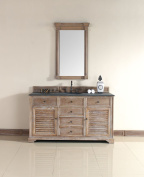 James Martin 238-104-5311-BLK Savannah 60 Driftwood Single Vanity with Absolute Black Rustic Stone by James Martin