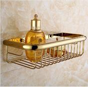 AUSWIND Gold Polish Small Bathroom Shelf Brass Wall Mount Bathroom Storage Basket