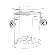 FECA FE-B1006 Stainless Steel Wire Bathroom Shower Double Tier Corner Caddy Rack with No Drill No Damage Heavy Duty Suction Cup Wall Mount