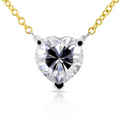 Floating Heart Forever Brilliant Moissanite Necklace 1 CTW in 14K Yellow Gold